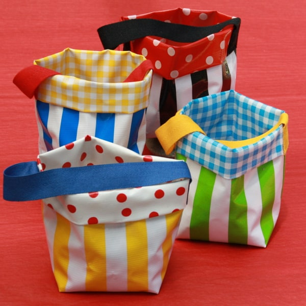 Striped Oilcloth Pot with Handle