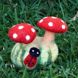 Felted Mushrooms with Ladybird