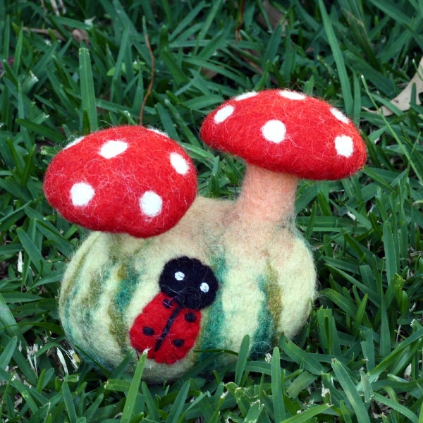 Felted Mushrooms with Ladybird