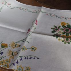 Vintage Tea Towel: Floral Posy in Basket