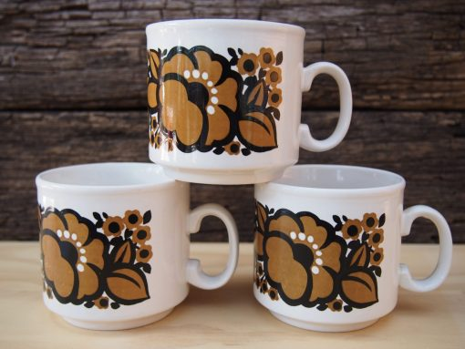 Staffordshire Potteries Brown and Black Small Mugs