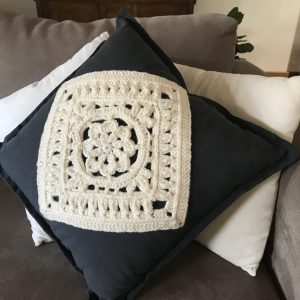 Hand Crochet Cushions - Blue and White