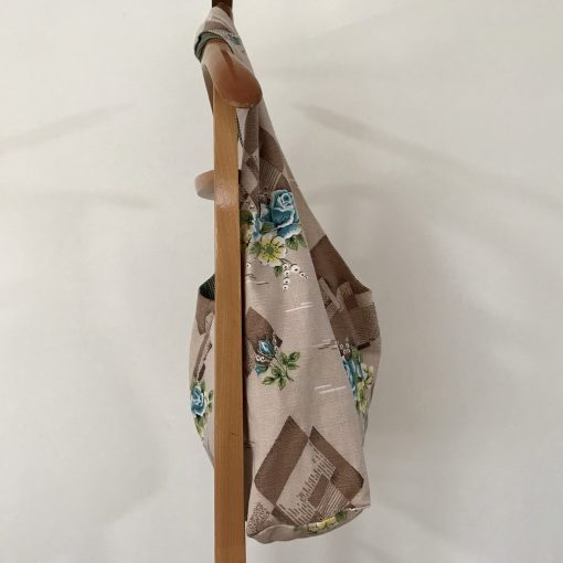 Handmade Slouchy Tote Bag from Vintage Mid Century Fabric