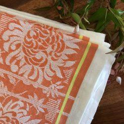 Vintage Damask Tablecloth - Pure Irish Linen with Chrysanthemum Flowers