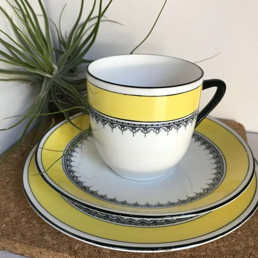Vintage Foley Yellow and Black Tea Set Trio